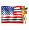 A cowgirl and the United States of America flag vector image