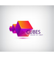 3d astract geometric logo origami cubes vector image