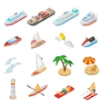 Ships and beach vacation icons set vector image