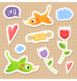 Cute sticker set with birds hearts and flowers vector image