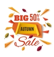 Big autumn sale banner with abstract leafs vector image