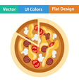 Flat design icon of Pizza on plate vector image