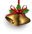 Golden shiny christmas bells vector image