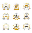 royal crowns emblems set heraldic design vector image