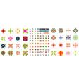 set of ornamental geometric flowers vector image