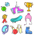 doodle of sport equipment colorful vector image