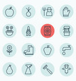 set of 16 plant icons includes protection mitt vector image