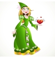 Charming princess in a green dress giving heart vector image vector image