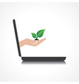 hand holding plant comes from laptop screen vector image