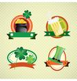 St Patricks Day colorful Labels on vintage backgro vector image