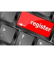 Closeup of register key in a modern keyboard vector image vector image