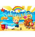 Little boy enjoy summer on the beach vector image