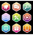 Application Icons trendy Design on black vector image
