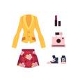 cartoon woman outfit apparel set vector image