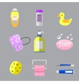 Cosmetic bottle shampoos hygiene clean container vector image