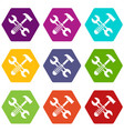 hammer and screw wrench icon set color hexahedron vector image