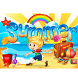 Little boy enjoy summer on the beach vector image