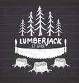 lumberjack at work with saw vintage label hand vector image