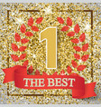 the best number one background with red ribbon vector image