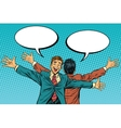two businessman friend stand back vector image