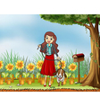 A woman with a dog at the garden vector image vector image