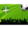 football ball on green background with shield and vector image vector image