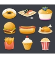 Retro Realistic Cartoon Fast Food Icons and vector image
