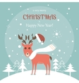 Christmas Greeting Card with Deer vector image