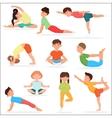 Cute yoga kids set Children yoga gymnastics vector image