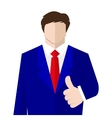 Man in suit shows a sign Thumb Up vector image