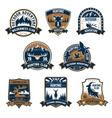 Hunting club icons Outdoor adventure emblems vector image vector image