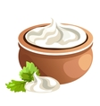 Clay pot with white cream vector image