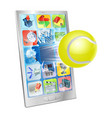 tennis ball flying out of cell phone vector image vector image