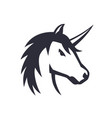 Unicorn logo element over white vector image