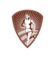 Marathon athlete sports runner shield vector image vector image