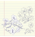 Notebook with pansies and bindweed vector image