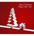 Merry Christmas card made from paper stripe vector image