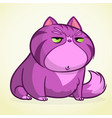 cartoon of grumpy purple cat vector image