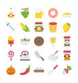 flat icons pack of food and drinks vector image