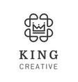 geometric vintage crown abstract logo design vector image