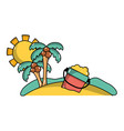 palms with bottle of sand in the beach on vacation vector image