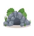 stone cave cavemans dwelling colorful vector image