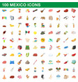 100 mexico icons set cartoon style vector image