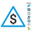Money Warning Flat Icon With Bonus vector image