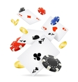 Playing Cards and Poker Chips Fly vector image