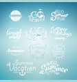 different summer travel lettering many logo on vector image vector image
