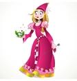 Charming princess holding a frog vector image vector image