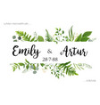 Wedding invite invitation card floral greenery vector image