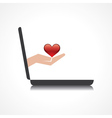 hand holding heart comes from laptop screen vector image