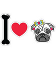 I love pug female pug with earings and a bow vector image